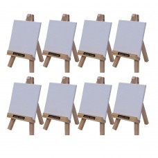 """Roger & Moris Mini 'A' Easel 6"""" with Canvas 3.5"""" x 3.5"""" (Set of 8)"""