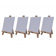 """Roger & Moris Mini 'A' Easel 10"""" with Canvas 7"""" x 7"""" (Set of 4)"""