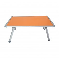 Coloured Fixed Bed Table With Crossed Metal Legs (Orange Top)