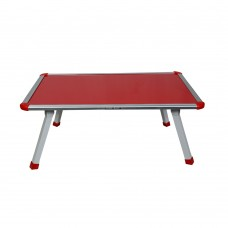 Coloured Fixed Bed Table With Crossed Metal Legs (Red Top)