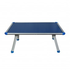 Coloured Fixed Bed Table With Crossed Metal Legs (Blue Top)